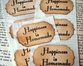 Happiness is Homemade- Adhesive Stickers-Seals-SET of 12