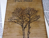 Fall Wedding Invitation Woodgrain Design with Envelope-Double Sided- by Craftypagan Designs