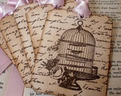 Bird Cage Tags with Script Gift Tags/Hang Tags/Place Settings Bundle SET of 65-Ribbon Choice Available