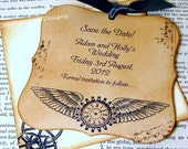 Steampunk Save The Date Magnet x 75 with Matching Envelope by Craftypagan Designs