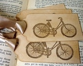 Vintage Victorian Bicycle Gift Tags -x6- Ribbon Choices Available