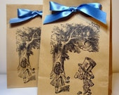 Alice in Wonderland Kraft Favor and Treat Party Bags SET of 65-Double Sided Design-Ribbon Choice Available