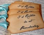 I'd Rather Be At Pemberley Handmade Vintage Style Gift Tags/Labels/Hang Tags SET of 6-Ribbon Choice