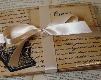Typewriter Table Name Card with Script-Vintage Style Double Sided Design by Craftypagan Designs