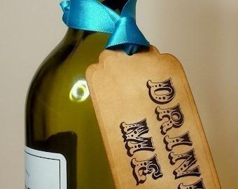 DRINK Me Labels/Gift Tags/Hang Tags Circus-Set of 10-Ribbon Choice Available