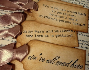 Alice in Wonderland Quote Gift Tags/ 25 Alice Vintage Style Wedding Decoration Tags/ Alice in Wonderland party favor tags