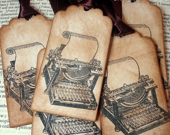 25 Typewriter Gift Tag/ Writers Wedding Tags/ Type Writer Favor Tags/ Vintage Labels Ribbon Choice Available