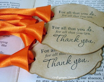 Thank You Gift Tags/ Thanksgiving Tags/ Vintage Style Wedding Favor Tags/ Ribbon Choices
