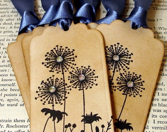 Dandelion Wishing Tree Tags with Gemstones-SET of 6-Ribbon Choices Available by Craftypagan Designs