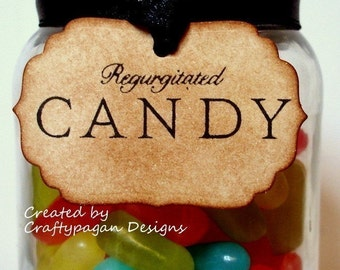 Regurgitated Candy Small Tags/Labels-Halloween-Vintage Style-Set of 10