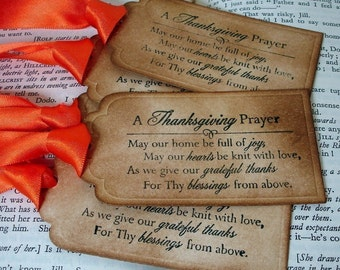 Thanksgiving Prayer Gift Tags/Labels SET of 24-Ribbon Choices Available