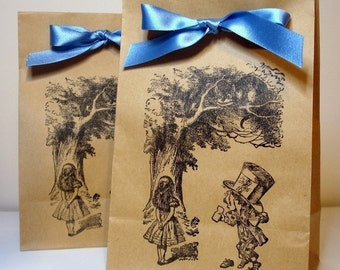 Alice in Wonderland Kraft Favor and Treat Party Bags SET of 40-Double Sided Design-Ribbon Choice Available
