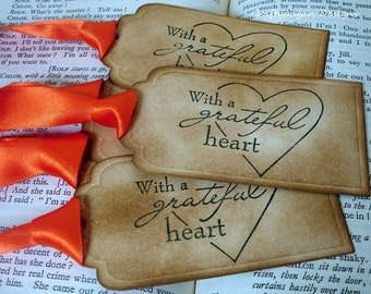 With a Grateful Heart Thanksgiving Gift Tags/ SET of 6 Harvest Table Tags/ Ribbon Choices Available