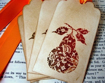 Pear Tags Thanksgiving Gift Tags Label-SET of 6-Ribbon Choice Available