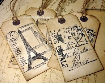 French Luggage Tags x 6 Travel Tags/Destination Wedding Labels Favors/ Eiffel Tower European Luggage Tags Vintage