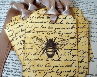 Vintage Bee Gift Tags or Labels/ Beekeeper Tags with French Script/ Set of 6/ Ribbon Choice