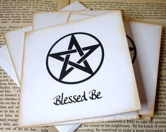 Pagan Wiccan Note Cards/ Pentagram Notecard Stationery/ SET of 5 Cards with Envelopes