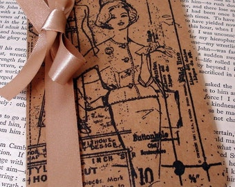 Fashion Notebook/ Vintage Fashion Note Book/ Plain Lined Square Paper/ Christmas Gift Idea