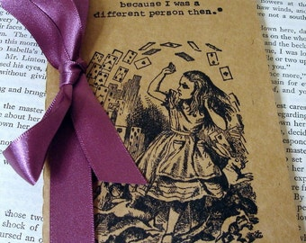 Alice in Wonderland Notebook/ Pack of Cards/ Alice Journal/ Birthday or Xmas Gift/ Vintage Wonderland/ Plain Lined or Square Paper/