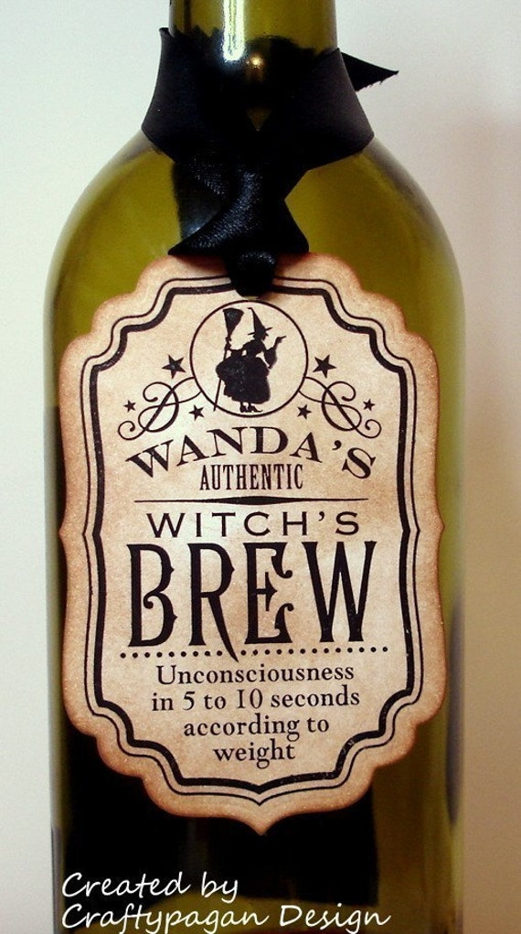 Witch's Brew-Handmade Vintage Halloween Tags/Labels-Set of 6