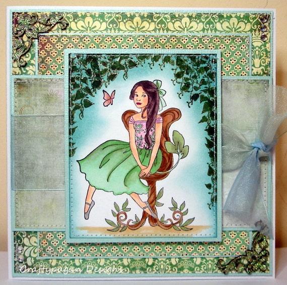 Luxury Fantasy Style Handmade Greeting Card by Craftypagan Designs