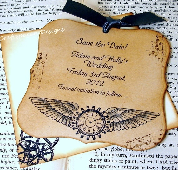 Steampunk Save The Date Magnet with Matching Envelope by Craftypagan Designs