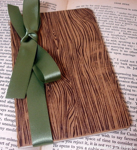 Wood Grain Small Notebook/ Unisex Notebook Gift/ Paper Choice/ Tree Woodgrain Stationery