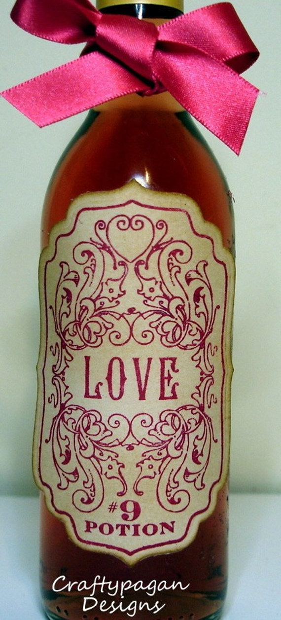Love Potion Vintage Style Stickers/Adhesive Labels in Red-SET of 4 by Craftypagan Designs