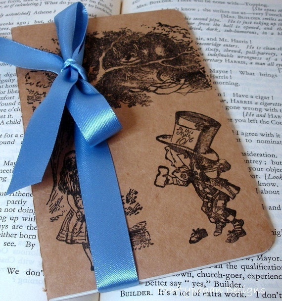 Alice in Wonderland Notebook/ Small Alice Kraft Journal Diary/ Plain Lined Square Paper Choice/ Stationery Gift/ Ribbon Choice
