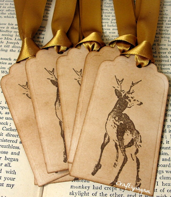 Winter Stag Christmas Tags/ Deer Holiday Gift Tags/ Woodland Animal Gift Tags/ Vintage Xmas Tags/ Ribbon Choices Available