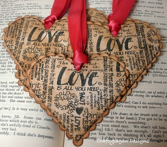 Love Heart Gift Tags/ Valentine Heart Shaped Tags/ SET of 6-Ribbon Choice