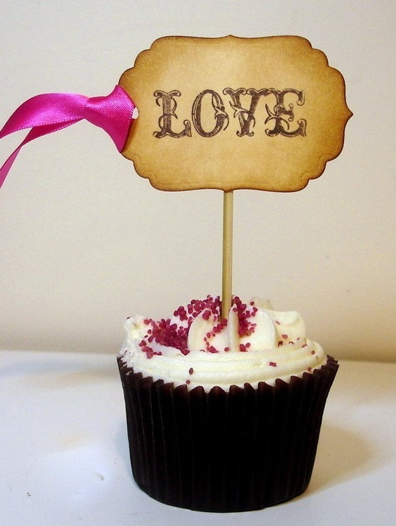 25 Love Cupcake Toppers/Picks-Luxury Vintage Style-Choose your Colours or Wording
