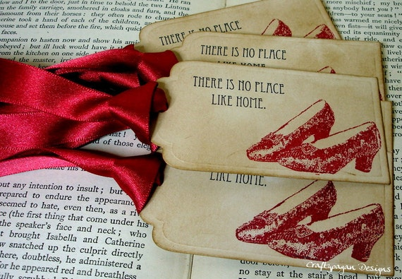 There 39 s no place like home wizard of oz vintage tags set for Vintage sites like etsy