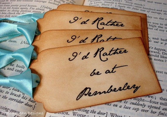 I'd Rather Be At Pemberley Handmade Vintage Style Gift Tags/Labels/Hang Tags SET of 6-Ribbon Choice