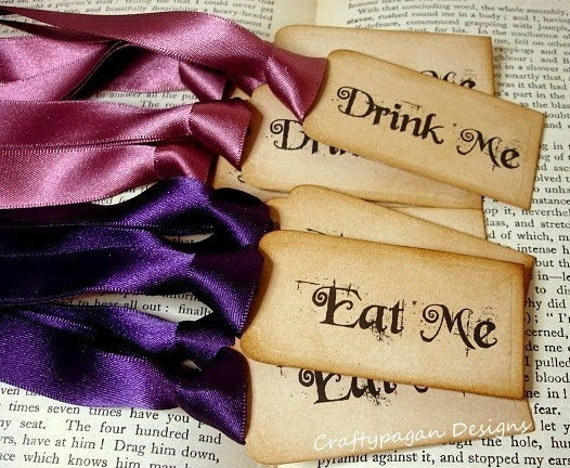 Eat Me and Drink Me Vintage Luxury Wonderland Gift Tags/Labels-SET of 100-Ribbon Choices Available