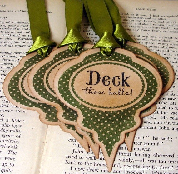 Holiday Gift Tags Bauble Shaped/ Deck the Halls Christmas Bauble Tags in OLIVE/ Set of 6/ Ribbon Choices