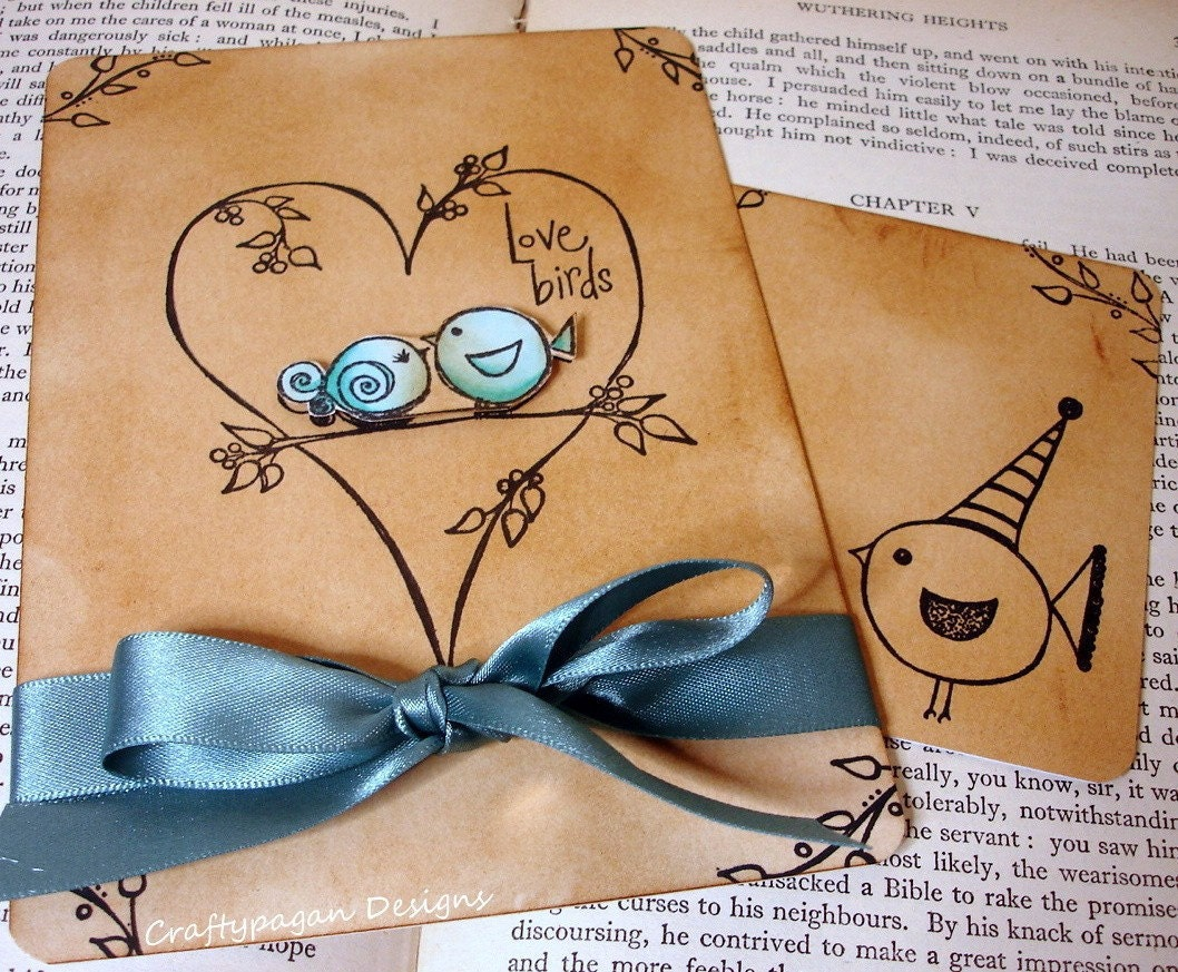 Bird Wedding Invitation: Love Bird Wedding Invitations With RSVP Cards By Craftypagan