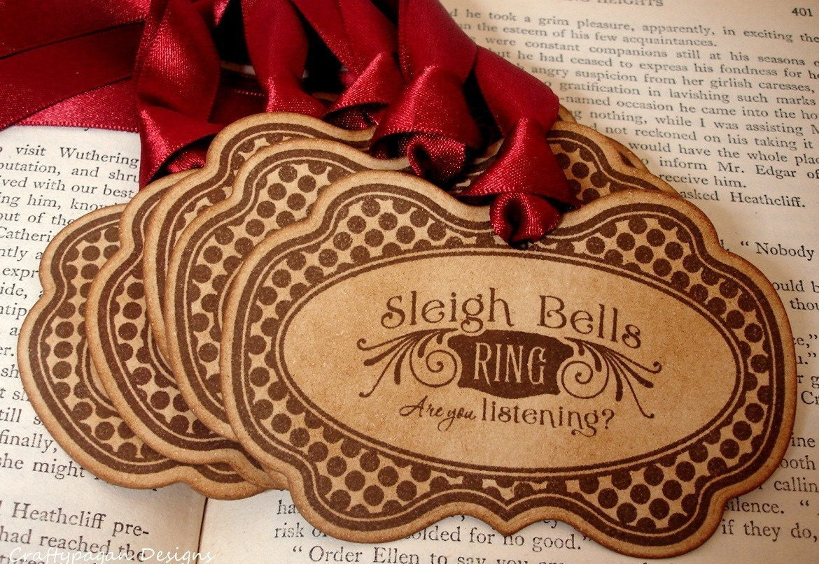 Sleigh Bells Ring-Handmade Vintage Style Christmas Tags/Hang Tags in Brown-SET of 6-Ribbon Choice Available
