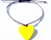 Unisex Guitar Pick Bracelet in Yellow and Brown with Adjustable Knot Closure