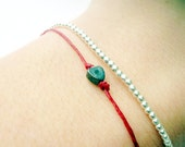 Valentine Bracelet Set Sterling Silver Beads and Heart in Red