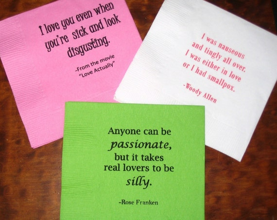 Set of 50 Gocco Cocktail Napkins featuring quotes by colshelly