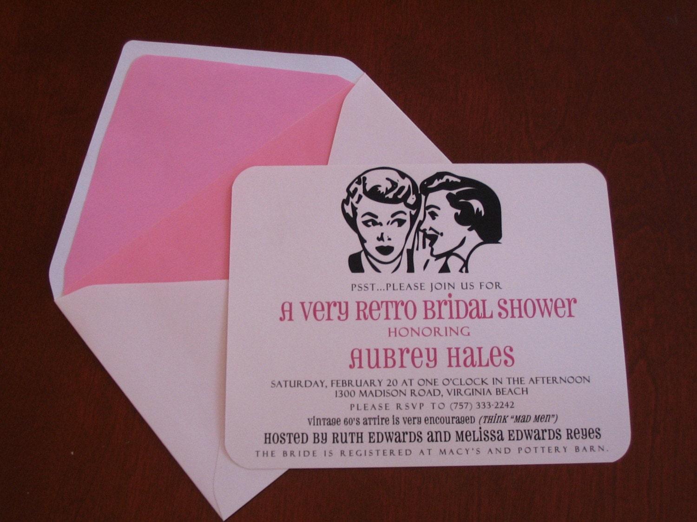 Wedding Invitations Shops: Items Similar To RETRO Bridal Shower Invitations SET OF 20
