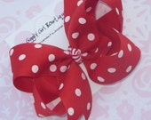 Red and White Polka Dot Hairbow