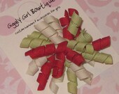 Cranberry, Ivory and Green Mini Korker Hairbow