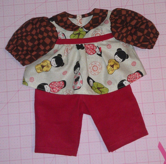HOLIDAY SALE Asian fabric dressy shirt and red corduroy pants for Build a Bears, Cabbage Patch Kids, and other similar sized dolls