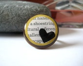 SALE - One Love Text Ring - Walnut and Yellow with Black Heart