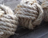 Nautical Decor, Rustic Decor - Knot Bowl Fillers - Sisal - 3 monkey fist knots