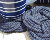 Nautical Decor - Set of 2 - Blue Turks Head Cotton Coasters- Very Nautical - great hostess gift - KarensRopeWork