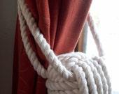 Nautical Home Decor - 4 Individual (2 pairs) Cotton Rope Curtain Tiebacks - Nautical Decor