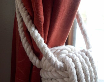Nautical Tiebacks - 2 Pure Cotton Rope Curtain Tiebacks - Nautical Drapery